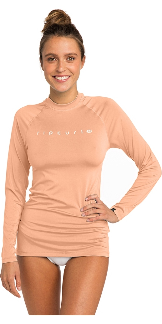 2019 Rip Curl Womens Sunny Rays Relaxed Long Sleeve Rash Vest Peach WLY6FW