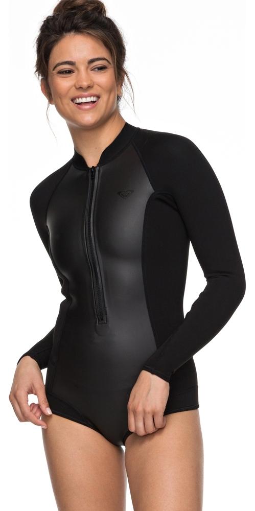 2019 Roxy Womens 2mm Satin Long Sleeve Cheeky Spring Shorty Wetsuit Black ERJW403018