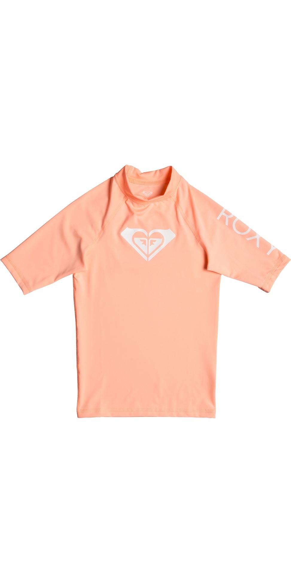2019 Roxy Girls Wholehearted Short Sleeve Rash Vest Souffle ERGWR03079
