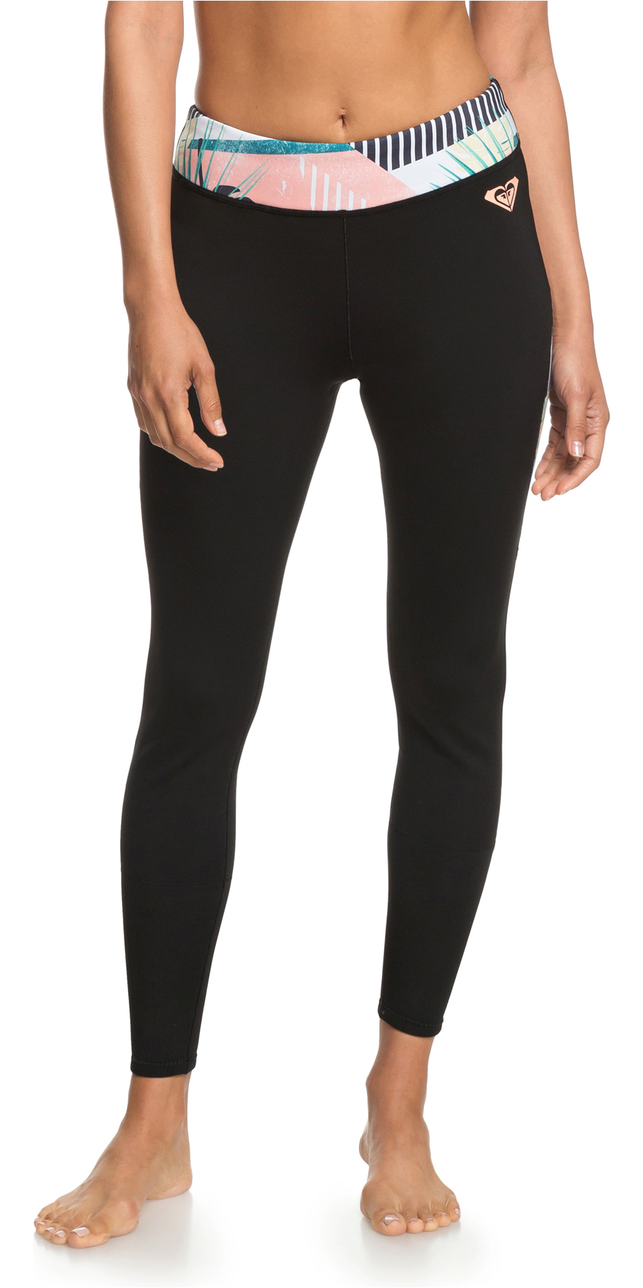 2019 Roxy Womens 1mm Pop Capri Leggings Black ERJWH03018