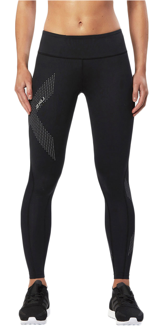 2XU Womens Mid-Rise Compression Tight BLACK / REFLECTIVE SPOT WA2864b