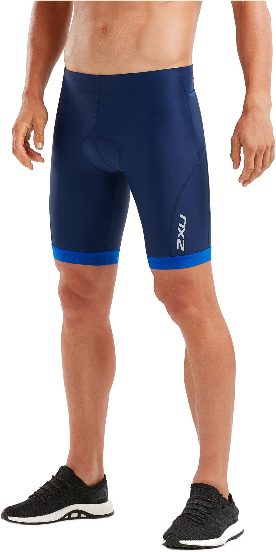 2019 2XU Mens Active Tri Shorts Navy / Lapis Blue Print MT4864b
