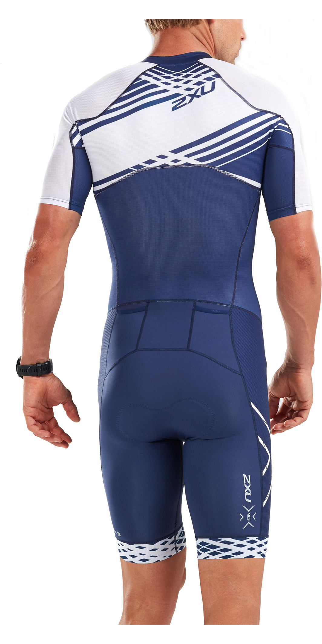2019 2XU Mens Compression Full Zip Short Sleeve Trisuit Navy / White Line MT5516d