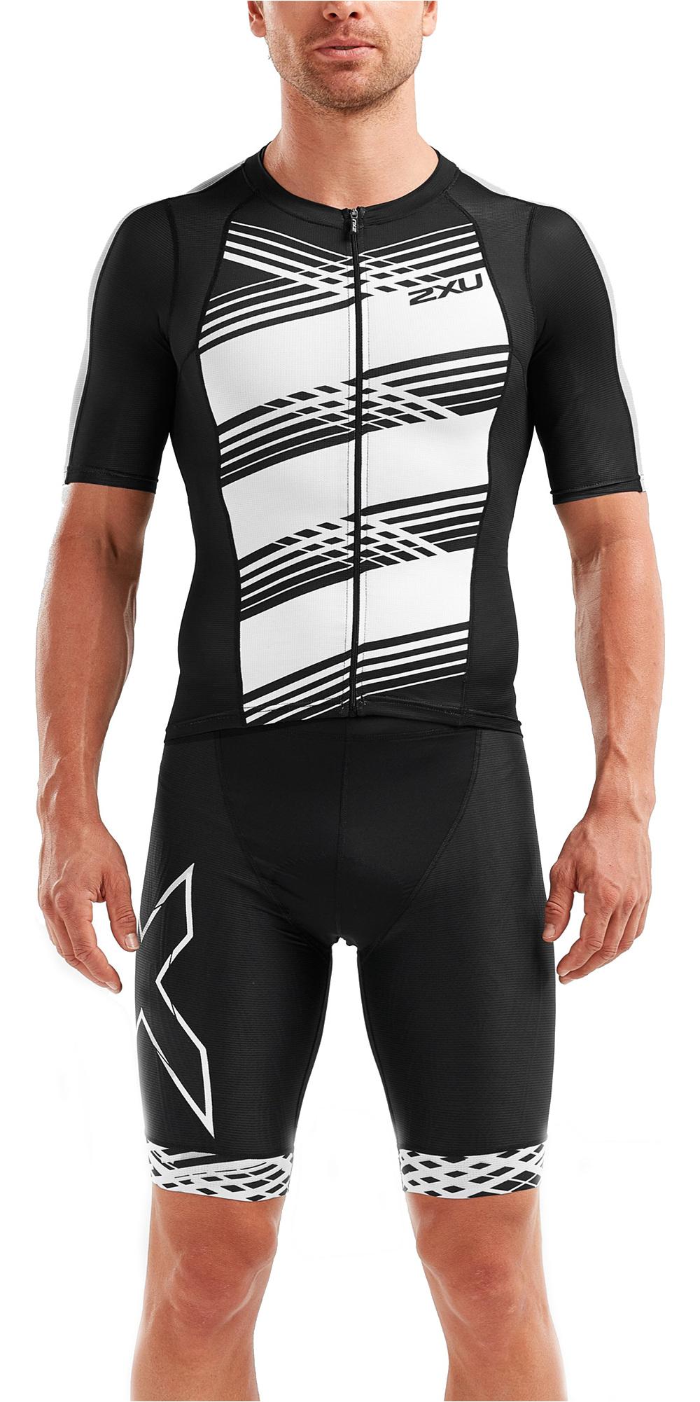 9de6e30638 2019 2XU Mens Compression Short Sleeve Top Black White Lines Mt5518a -  Triathlon Clothing | Wetsuit Outlet