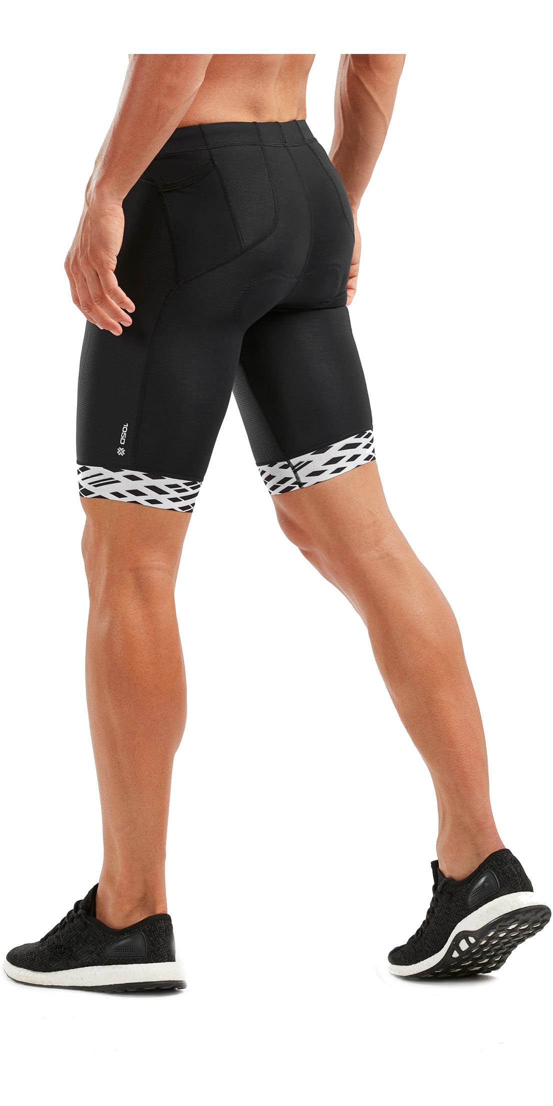 2019 2XU Mens Compression Tri Shorts Black / White Lines MT5520b