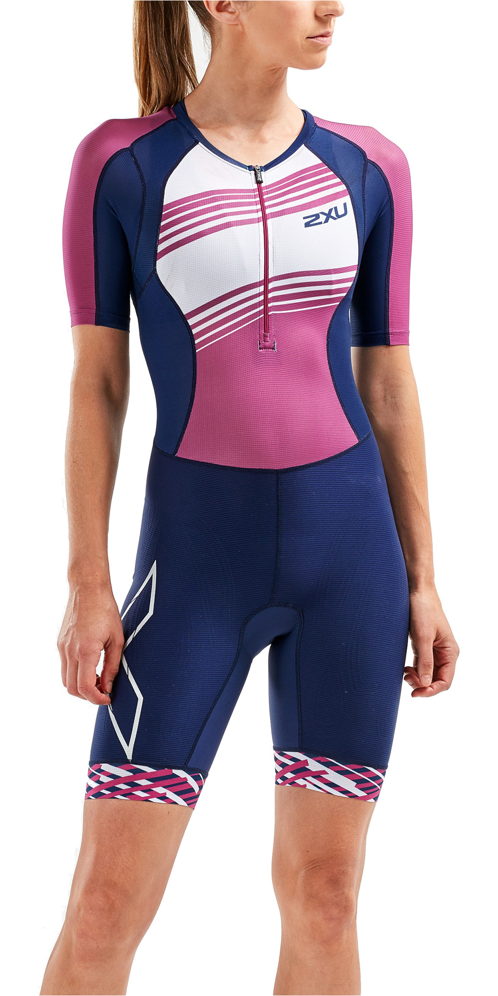 59c7c799f2c 2019 2XU Womens Compression Full Zip Short Sleeve Trisuit Navy Very Berry  Wt5521d - Triathlon | Wetsuit Outlet