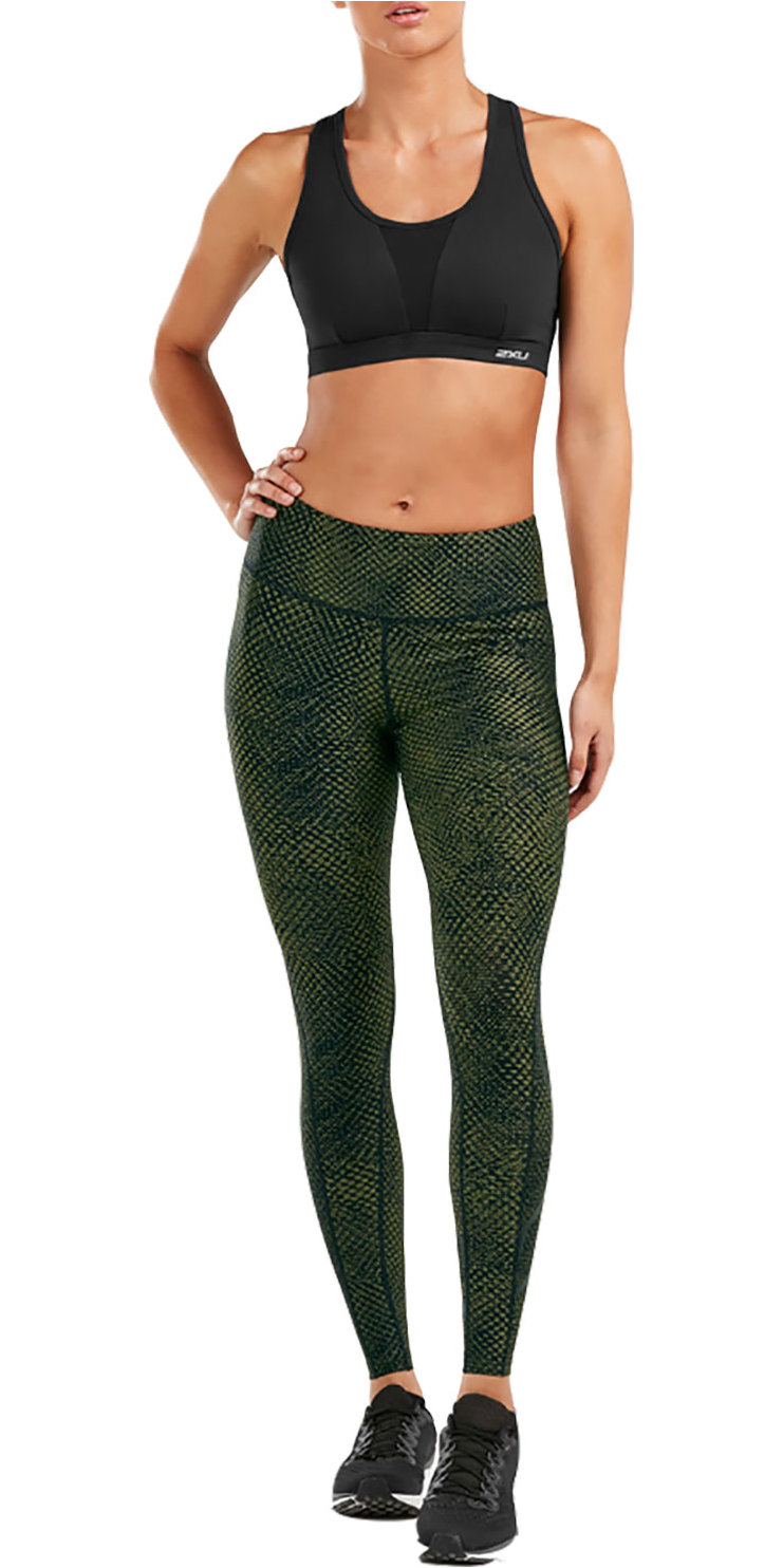 2a33fb2265f8ec 2019 2XU Womens Print Mid-rise Compression Tights Olive Black Wa5378b -  Triathlon Clothing | Wetsuit Outlet