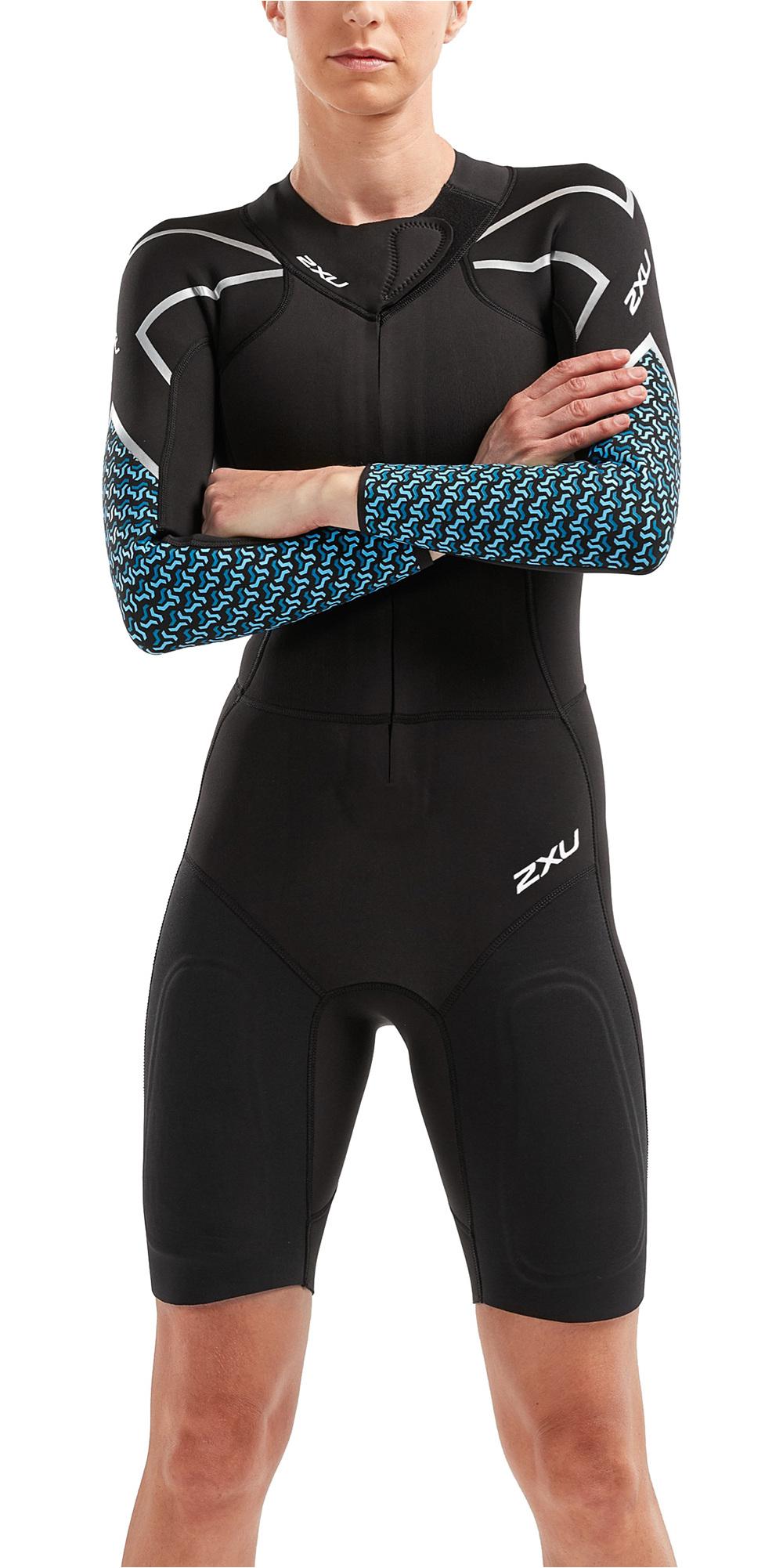 c9d5e3b5c2 2019 2XU Womens Pro Swim-run Sr1 Wetsuit Black Aquarius Teal Print Ww5480c  - Womens | Wetsuit Outlet