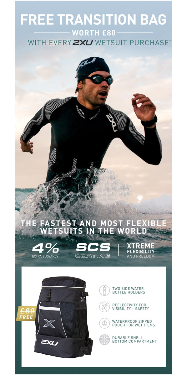 2018 2XU P:2 Propel Triathlon Wetsuit BLACK / DRESDEN BLUE MW4990c & FREE Transition Back Pack