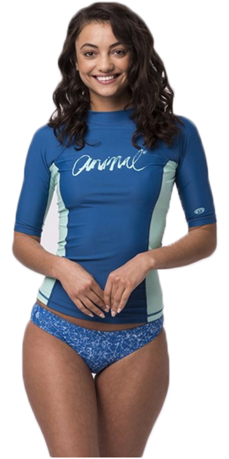 Animal Womens Vickie Short Sleeve UV50 Rash Vest Snorkel Blue CL8SN343