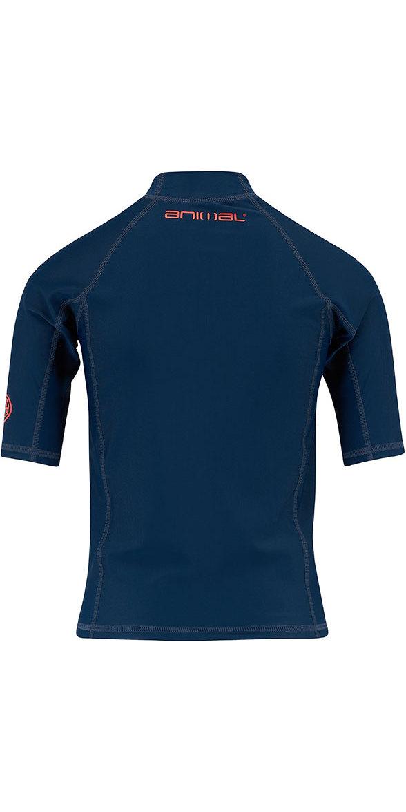 2018 Animal Junior Boys Hiltern Short Sleeve Rash Vest Dark Navy CL8SN610