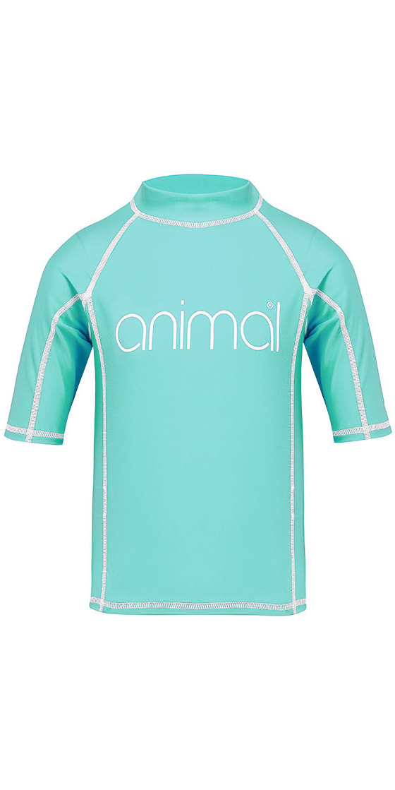 Animal Junior Girls Molli Short Sleeve Rash Vest Peppermint Blue CL8SN815