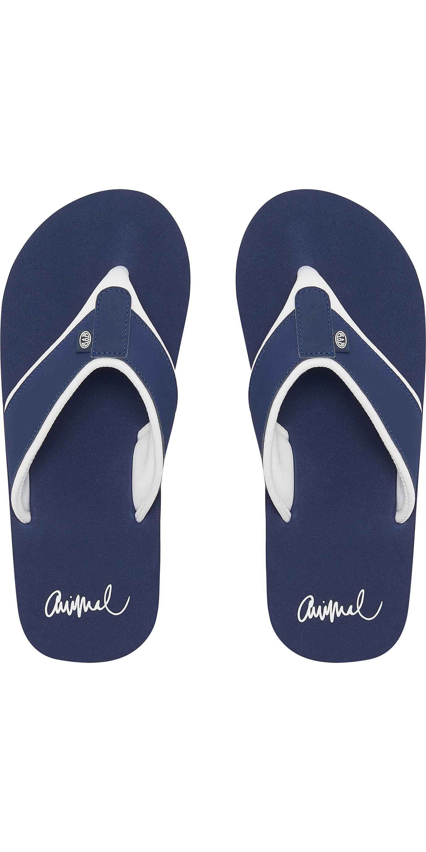 Ladies Flip Flops Mid Navy Blue Animal Swish Logo Flip Flops