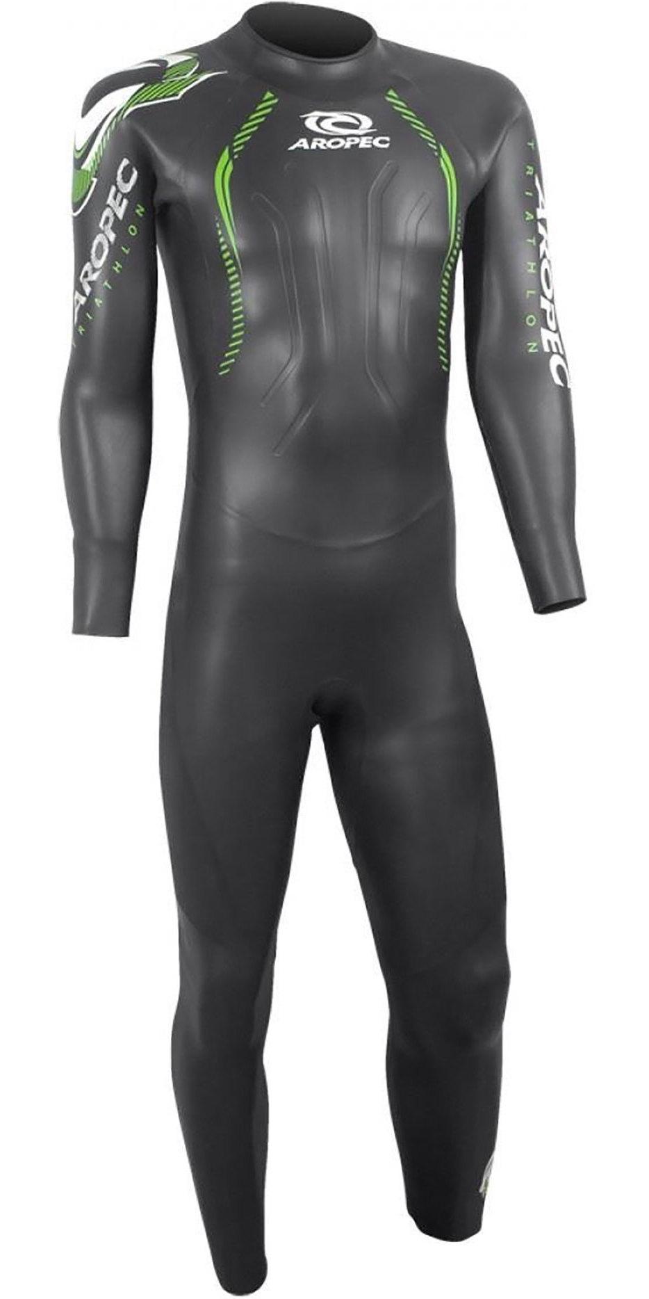 2019 Aropec Mens Flying Fish II 3/2mm Triathlon Back Zip Wetsuit Black DS3T5092M