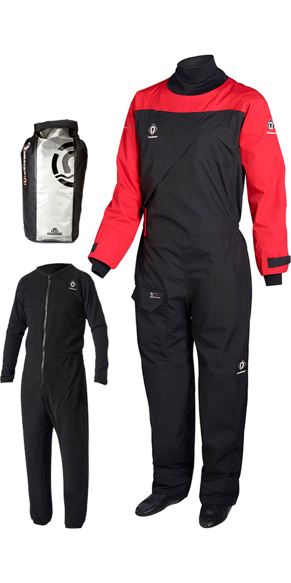 2018 Crewsaver Atacama Sport Drysuit RED / BLACK INCLUDING UNDERSUIT & DRY BAG