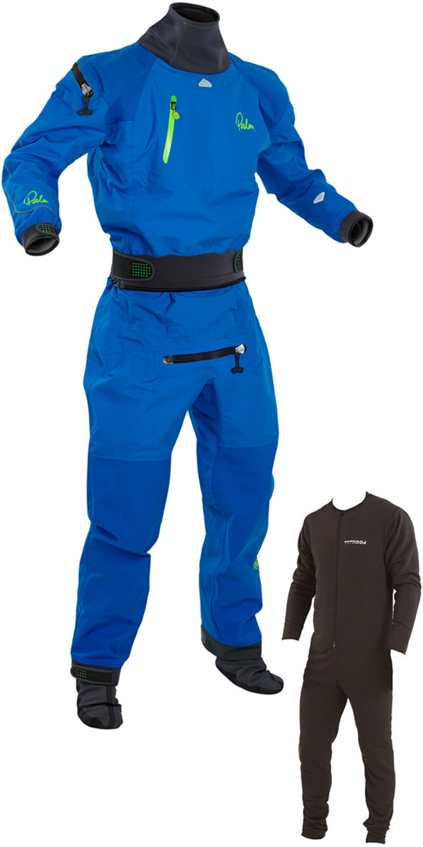 2018 Palm Atom Back Zip Whitewater Kayak Drysuit In Underlfeece Blue 11735