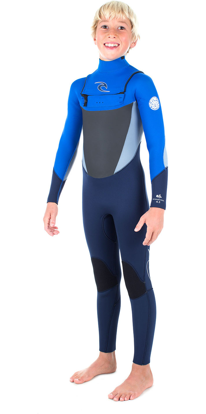Rip Curl Junior Dawn Patrol 4/3mm GBS Chest Zip Wetsuit BLUE WSM6FB