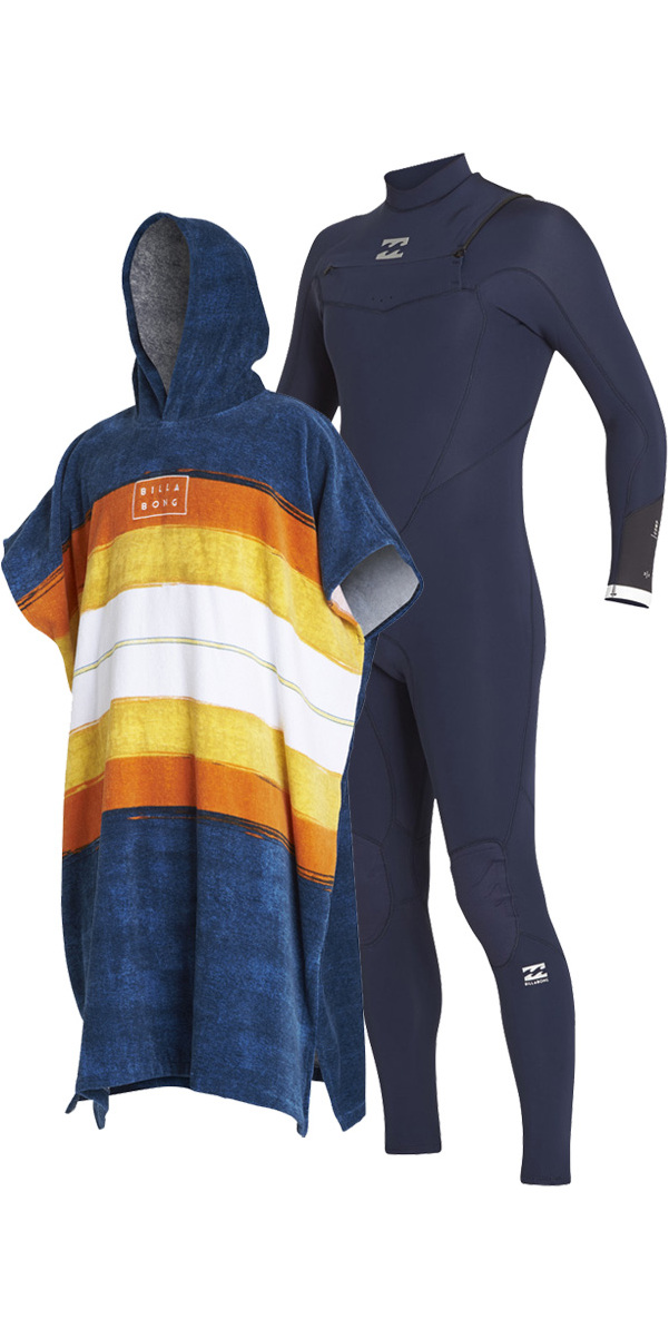 2018 Billabong Absolute Comp 4/3mm Chest Zip Wetsuit & Poncho / Changing Robe