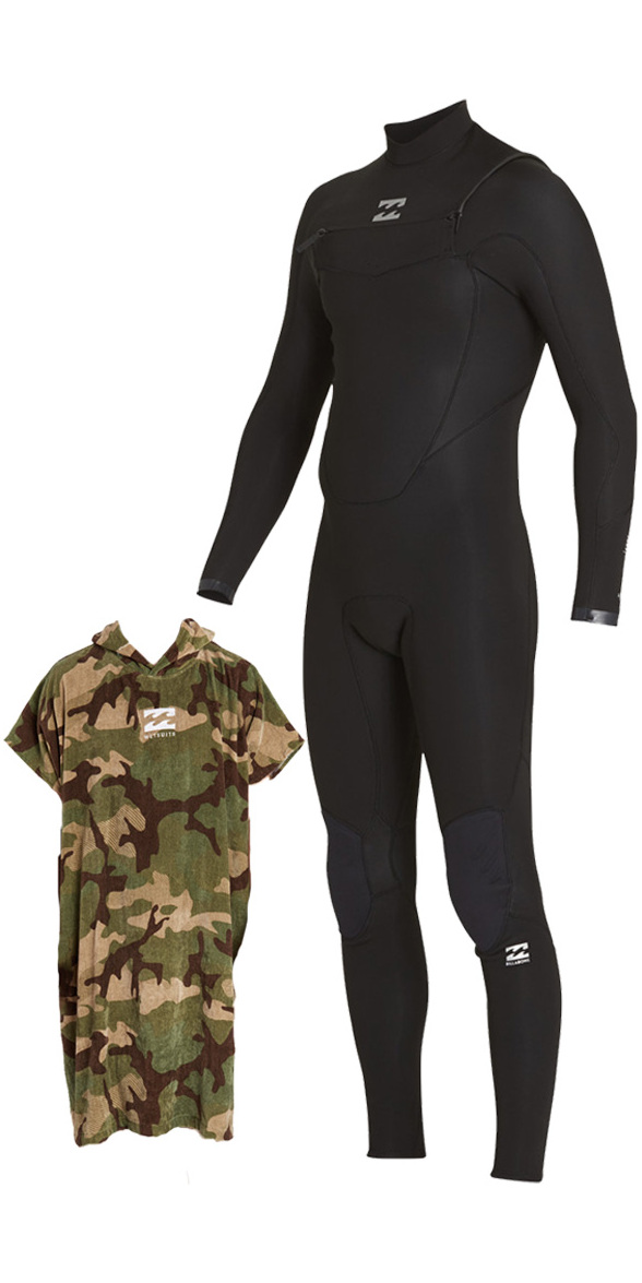 2018 Billabong Absolute Comp 5/4mm Chest Zip Wetsuit BLACK & CAMO VADER PONCHO Bundle Offer