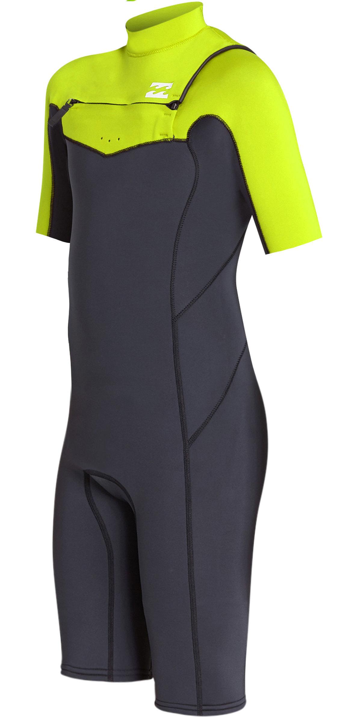 2019 Billabong Junior Boys Furnace Absolute 2mm Chest Zip Shorty Wetsuit Neon Yellow N42B05
