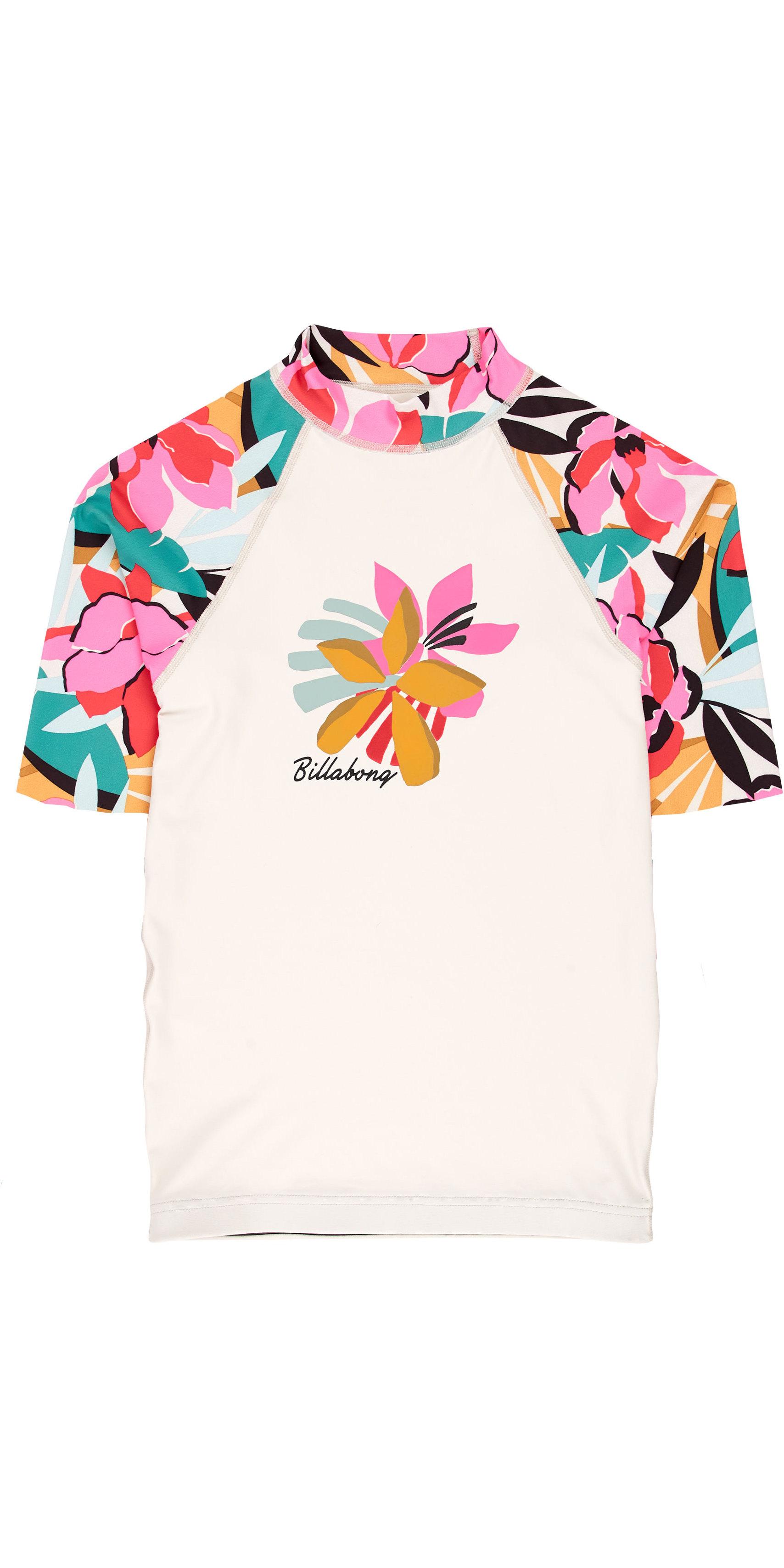 2019 Billabong Junior Girls Flower Short Sleeve Rash Vest Seashell N4KY03
