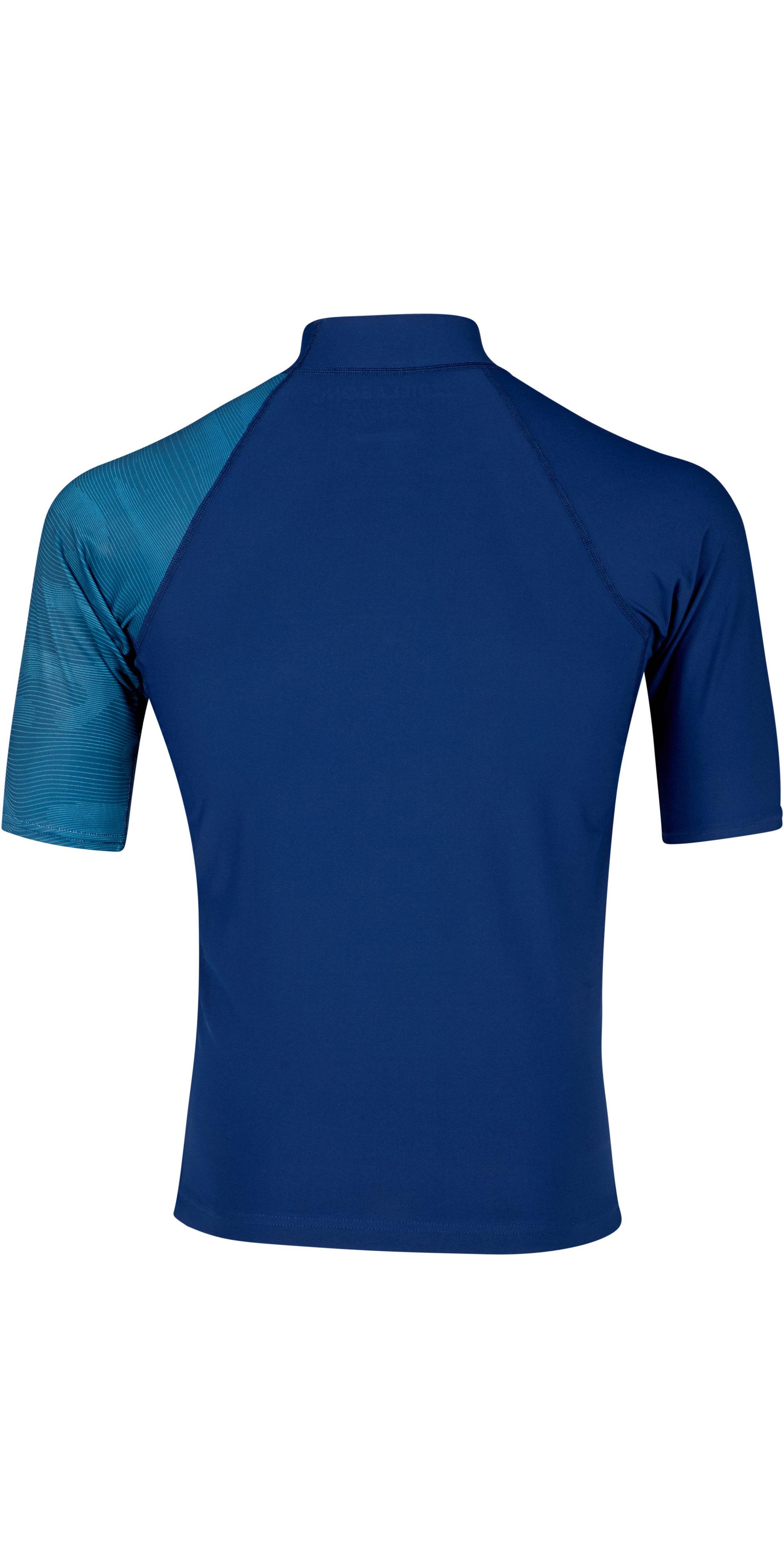2019 Billabong Mens Contrast Short Sleeve Printed Rash Vest Navy N4MY05