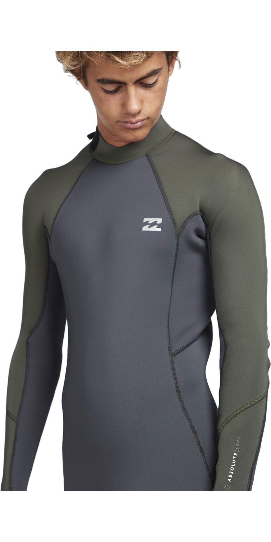 2019 Billabong Mens 3/2mm Absolute Back Zip Flatlock Wetsuit Black Olive N43M33