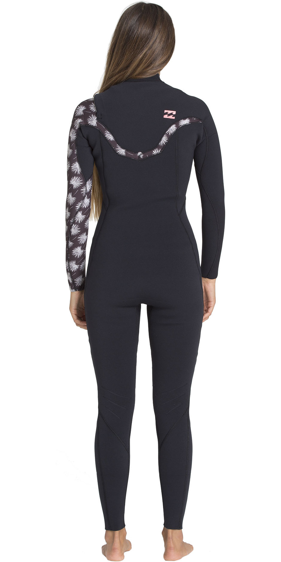 2019 Billabong Womens 4/3mm Furnace Carbon Comp Chest Zip Wetsuit Black Print N44G30