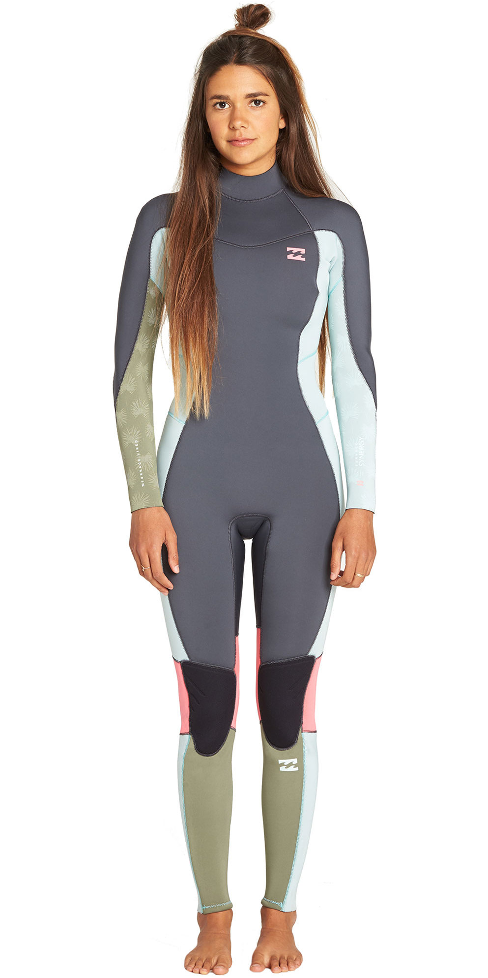 2019 Billabong Junior Girls Furnace Synergy 3/2mm Back Zip Flatlock Wetsuit Seafoam N43B08