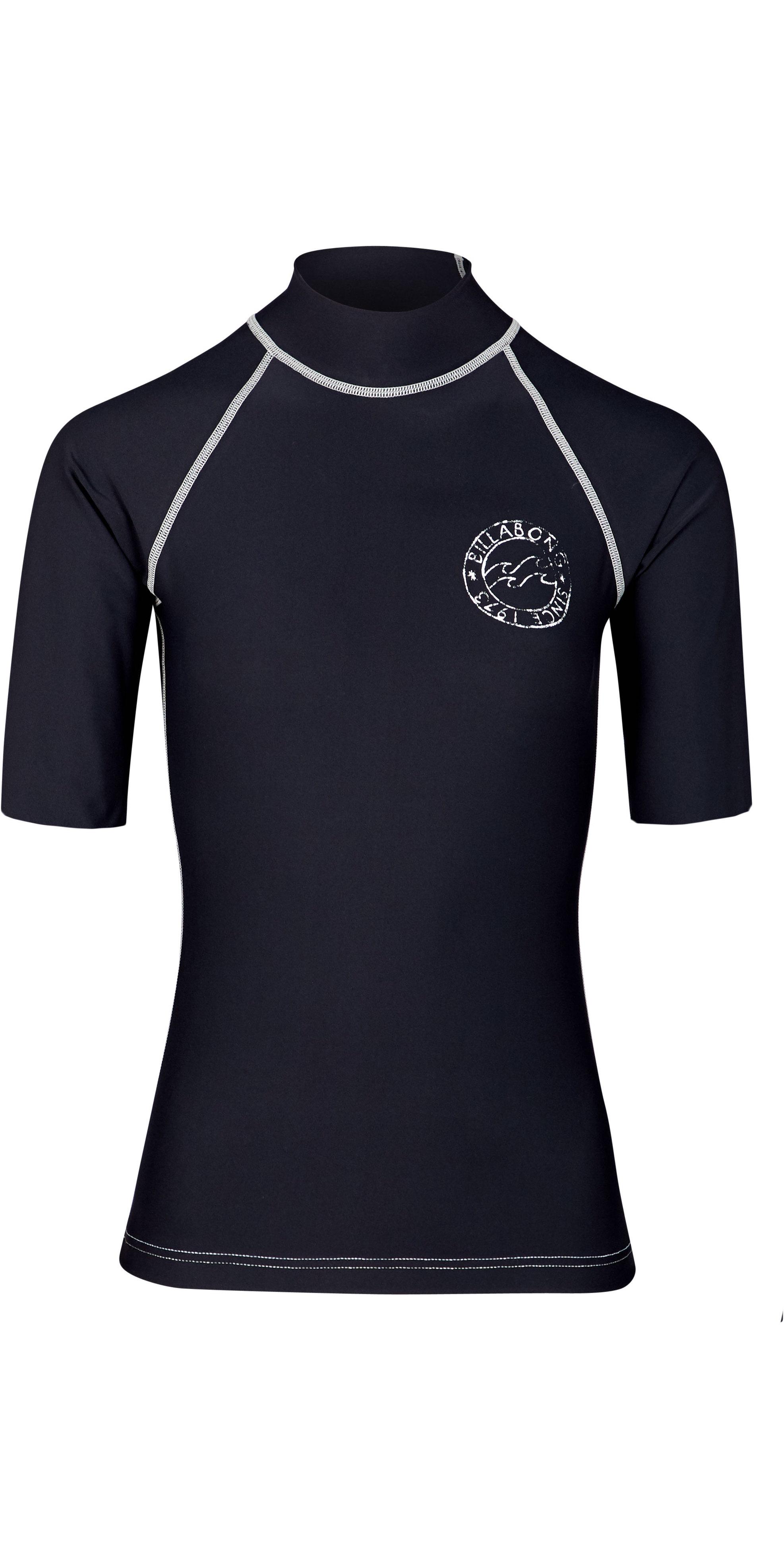2019 Billabong Womens Logo In Short Sleeve Rash Vest Black Pebble N4GY01