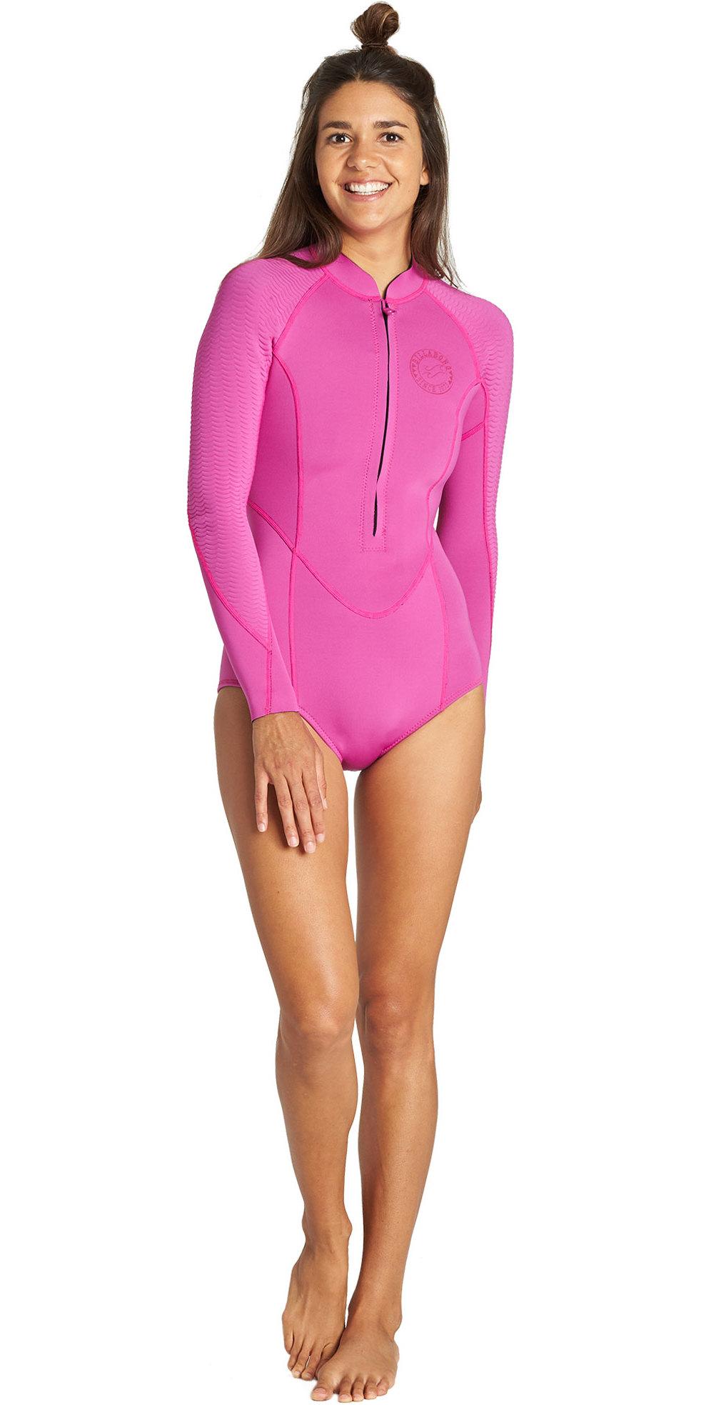 2019 Billabong Womens Salty Dayz 2mm Front Zip Long Sleeve Shorty Wetsuit Orchid Haze Q42G02