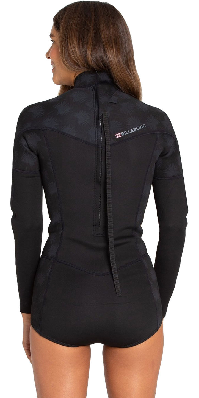 2019 Billabong Womens Synergy 2mm LS Shorty Wetsuit Black Palms N42G05