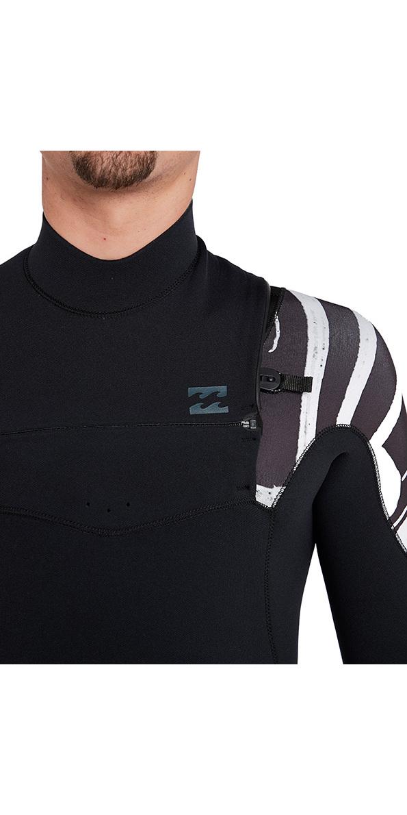 2018 Billabong Furnace Carbon 3/2mm Chest Zip Wetsuit Black Print L43M26