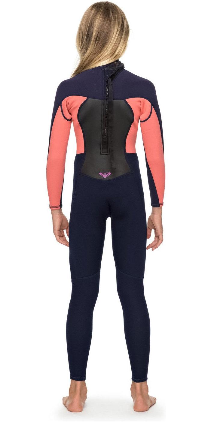 2019 Roxy Girls 3/2mm Prologue Back Zip Full Length Wetsuit Blue Ribbon ERGW103023