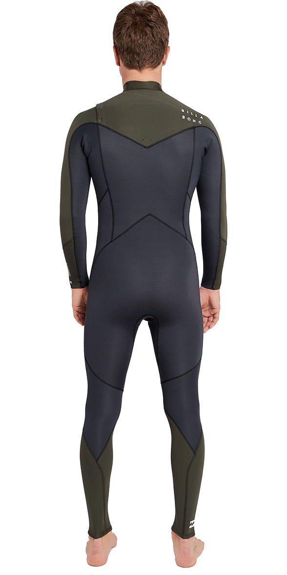 2019 Billabong Furnace Absolute 4/3mm Chest Zip Wetsuit Dark Olive L44M09