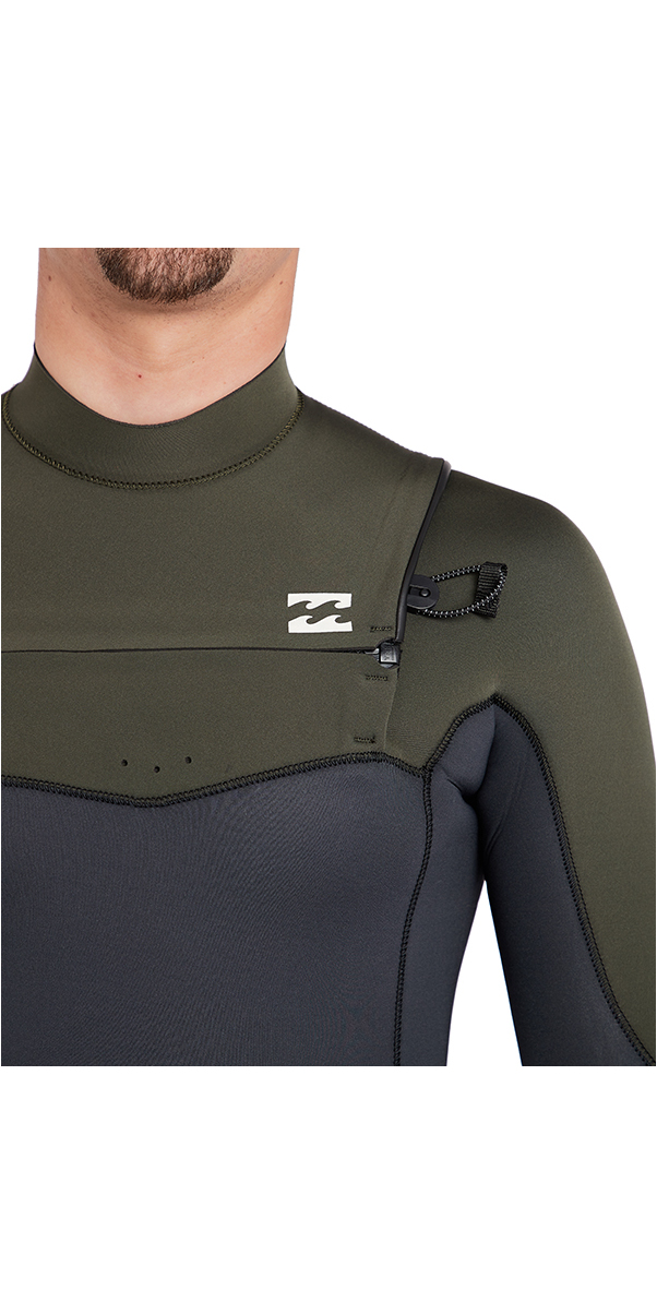2018 Billabong Furnace Absolute 4/3mm Chest Zip Wetsuit Dark Olive L44M09
