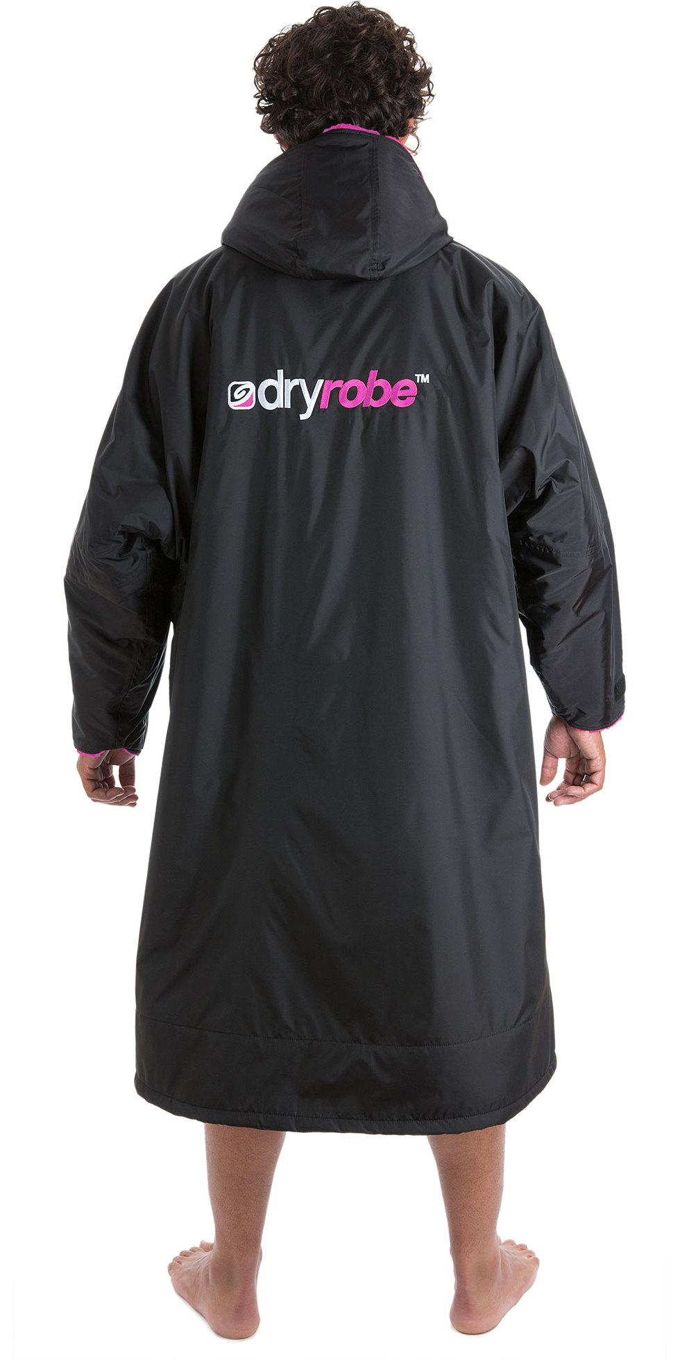 2019 Dryrobe Advance Long Sleeve Premium Outdoor Change Robe / Poncho DR104 Black / Pink