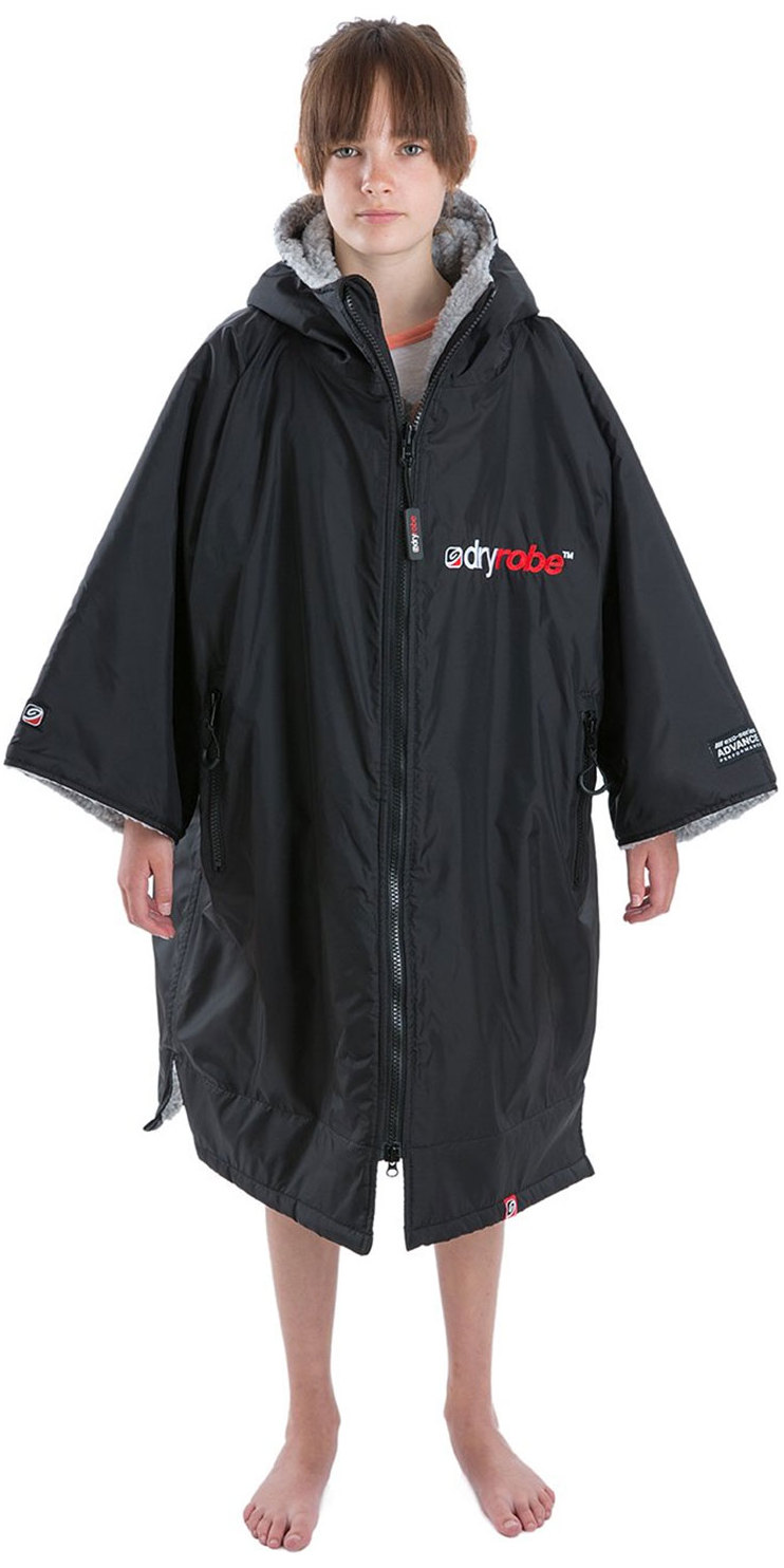 2019 Dryrobe Advance Short Sleeve Premium Outdoor Change Robe / Poncho DR100 Black / Grey