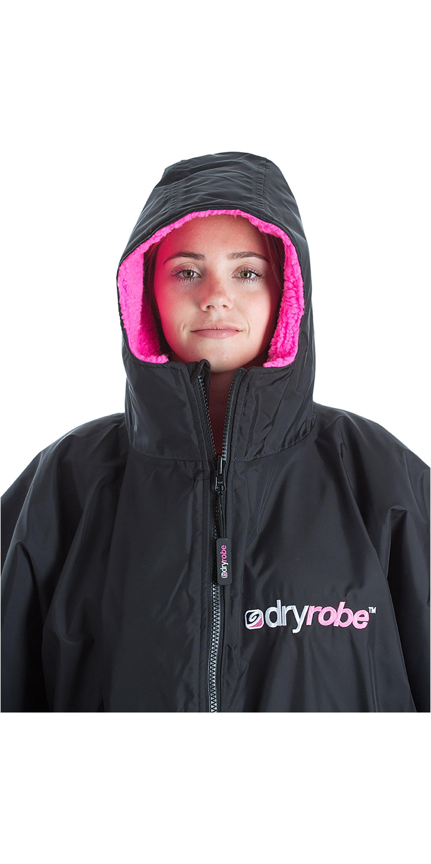 2019 Dryrobe Advance Short Sleeve Premium Outdoor Change Robe / Poncho DR100 Black / Pink
