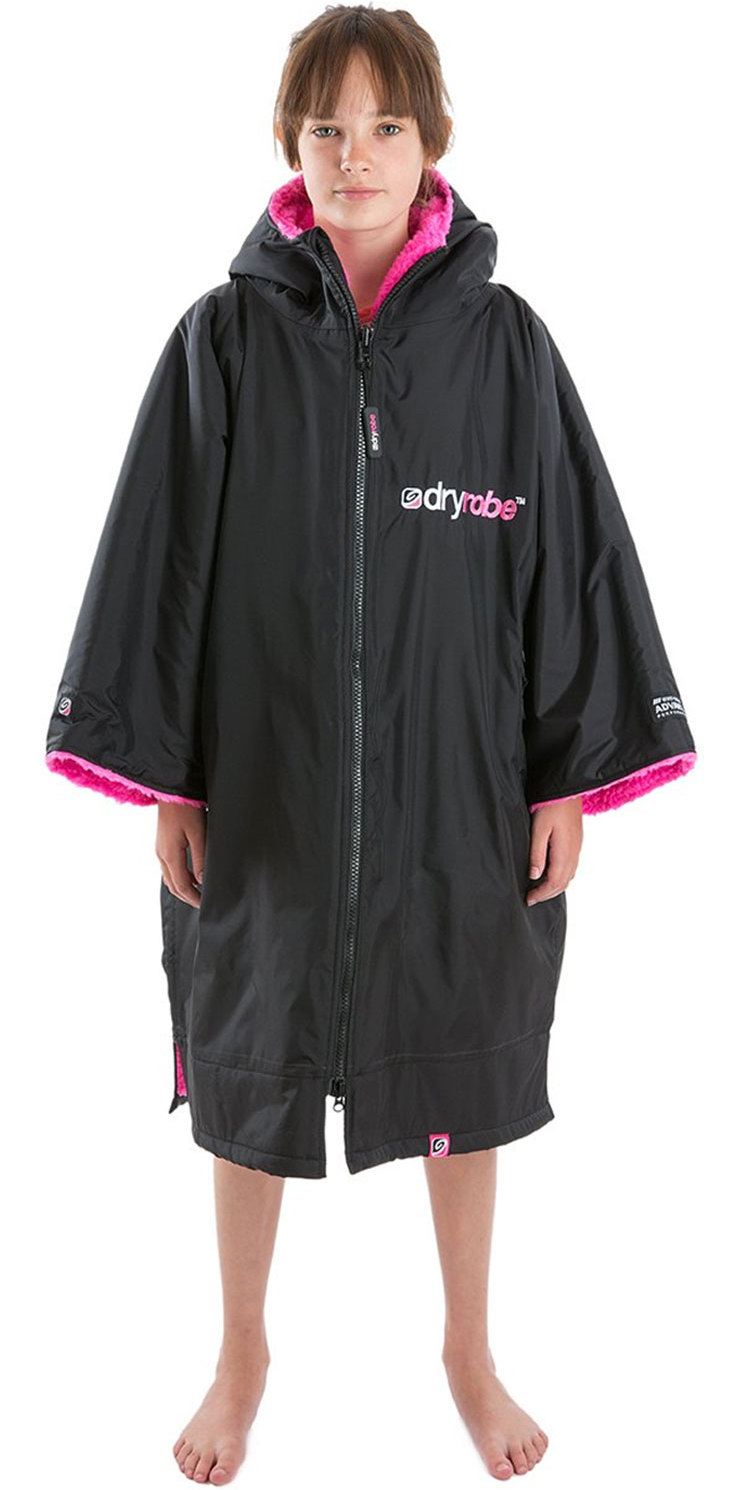 2019 Dryrobe Advance Short Sleeve Premium Outdoor Change Robe DR100 Black / Pink