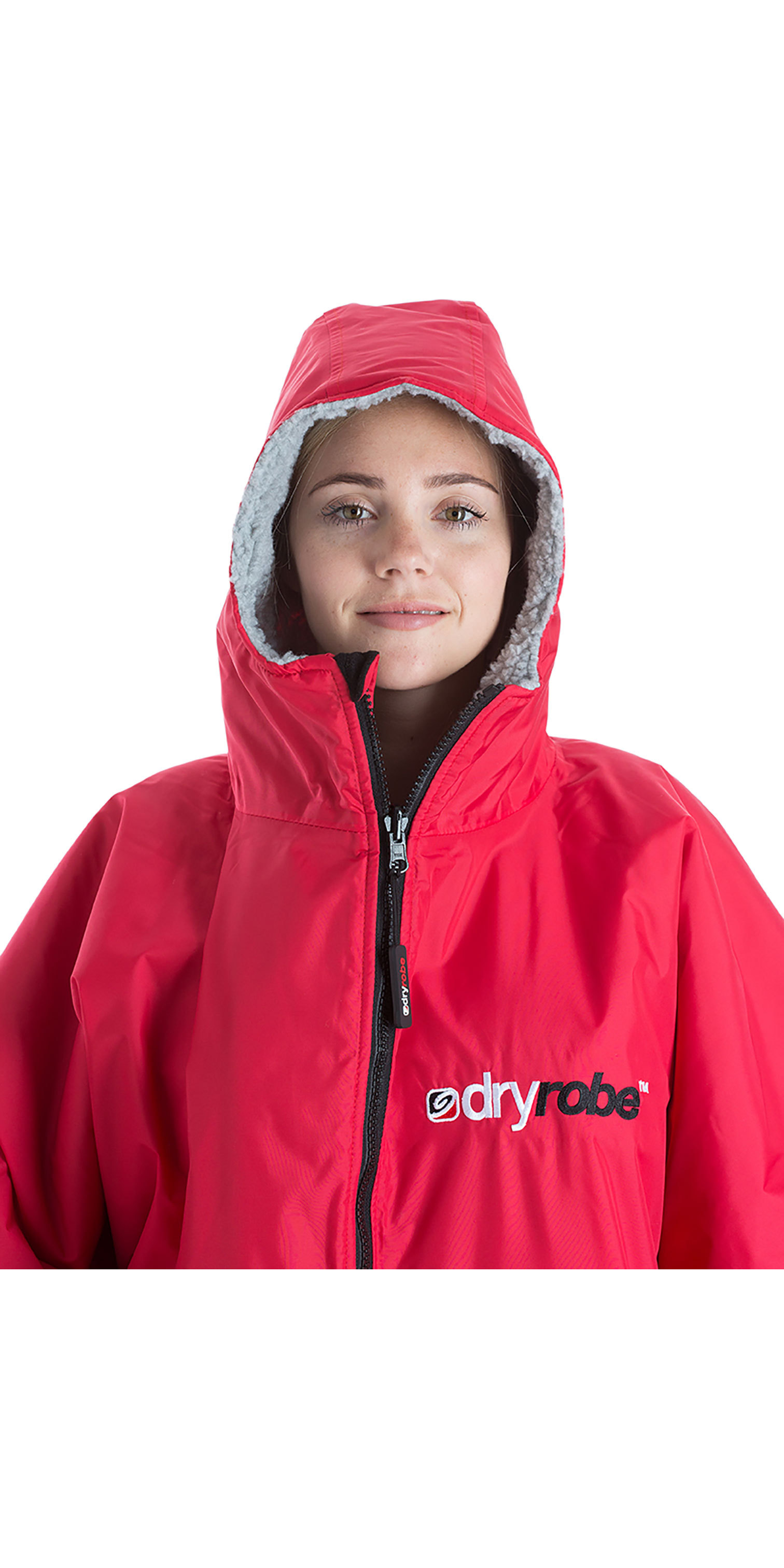 2019 Dryrobe Advance Short Sleeve Premium Outdoor Change Robe / Poncho DR100 Red / Grey