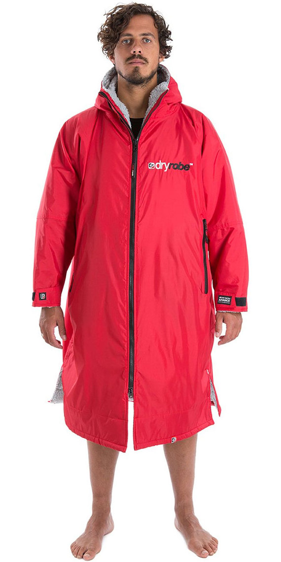2019 Dryrobe Advance Long Sleeve Premium Outdoor Change Robe / Poncho DR104 Red / Grey