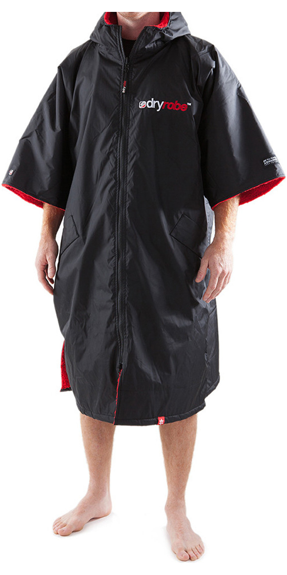 2019 Dryrobe Advance Short Sleeve Premium Outdoor Change Robe / Poncho DR100 Black / Red