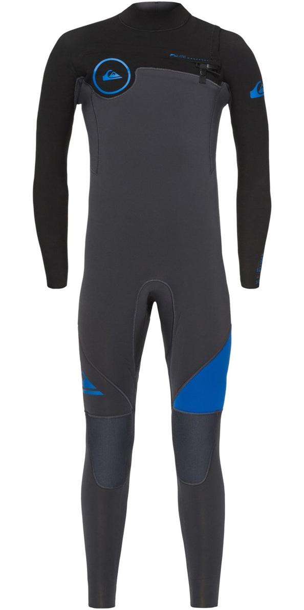 Quiksilver Boys Syncro 4/3mm Chest Zip Wetsuit Graphite / Deep Cyanine EQBW103021