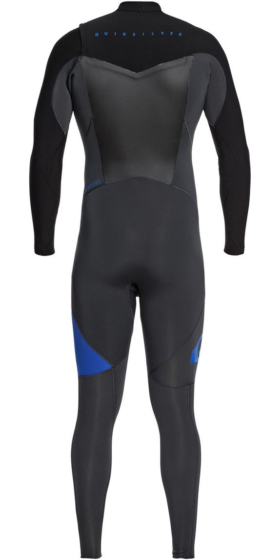 2018 Quiksilver Syncro 5/4/3mm Chest Zip Wetsuit Graphite / Black / Deep Cyanine EQYW103066