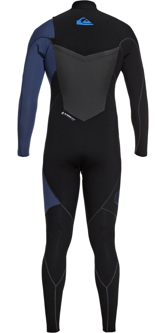 2019 Quiksilver Highline Plus 4/3mm Chest Zip Wetsuit Black / Iodine Blue EQYW103059