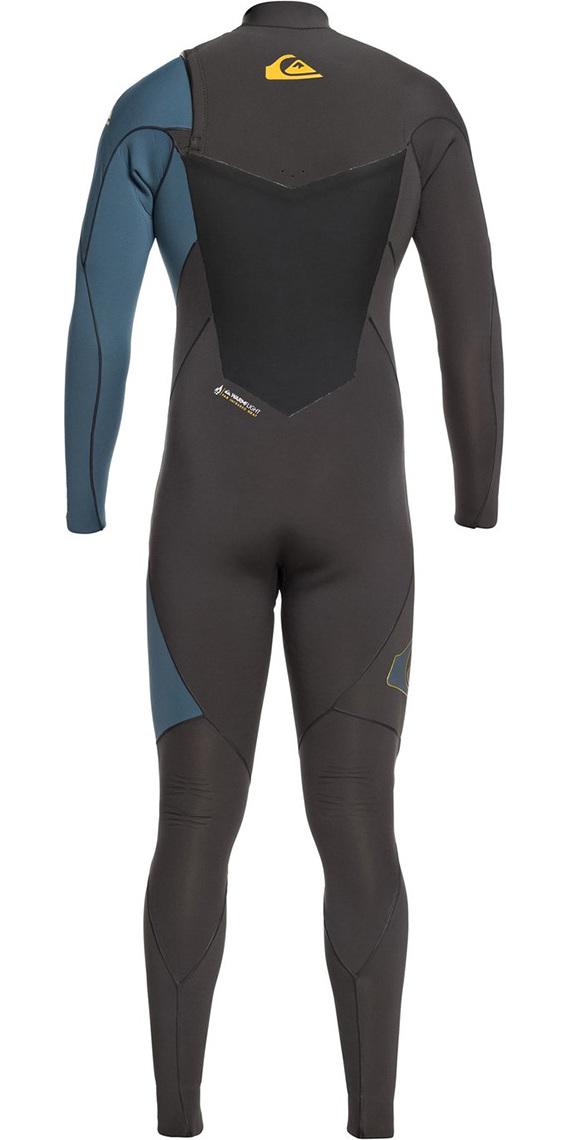 2019 Quiksilver Highline Plus 3/2mm Chest Zip Wetsuit Jet Black / Blue Steel EQYW103060