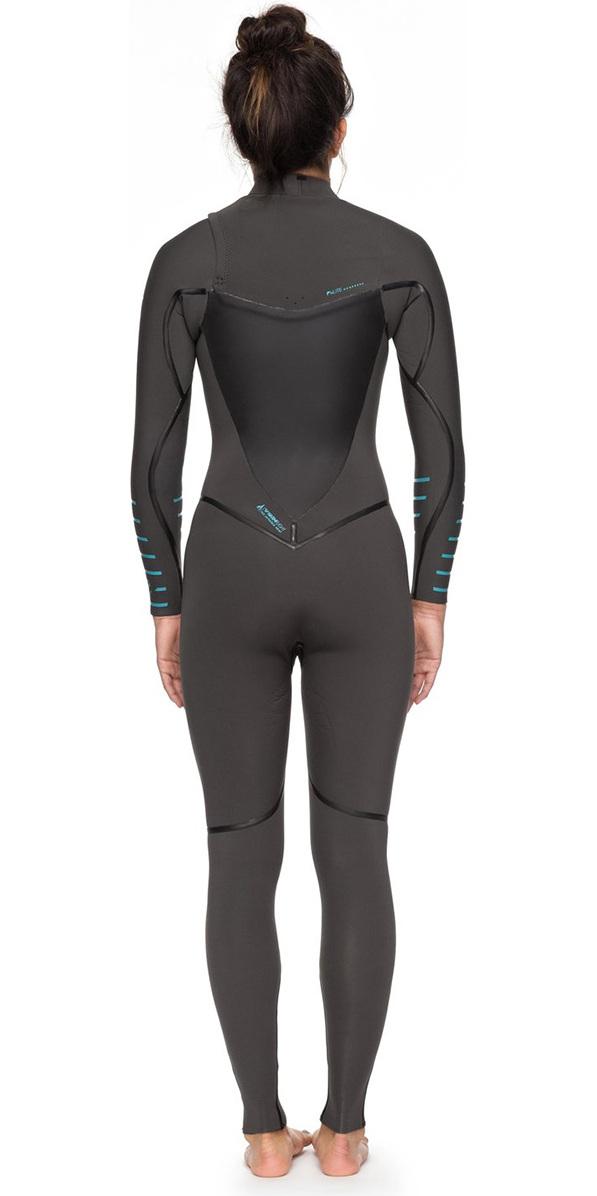 7de2df1668 2018 Roxy Womens Syncro+ 4 3mm Chest Zip Wetsuit Jet Black   Heather Blue  ERJW103030 ...