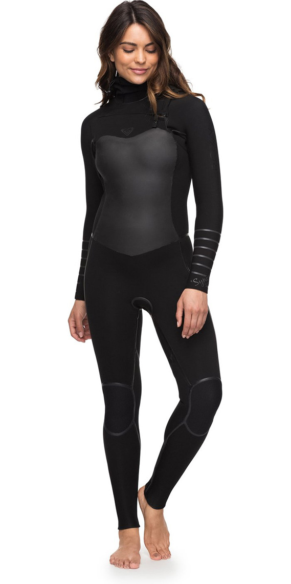 2018 Roxy Womens Syncro 5 4 3mm Hooded Chest Zip Wetsuit Black Erjw203002 -  Womens - 5mm  7643ba0a0