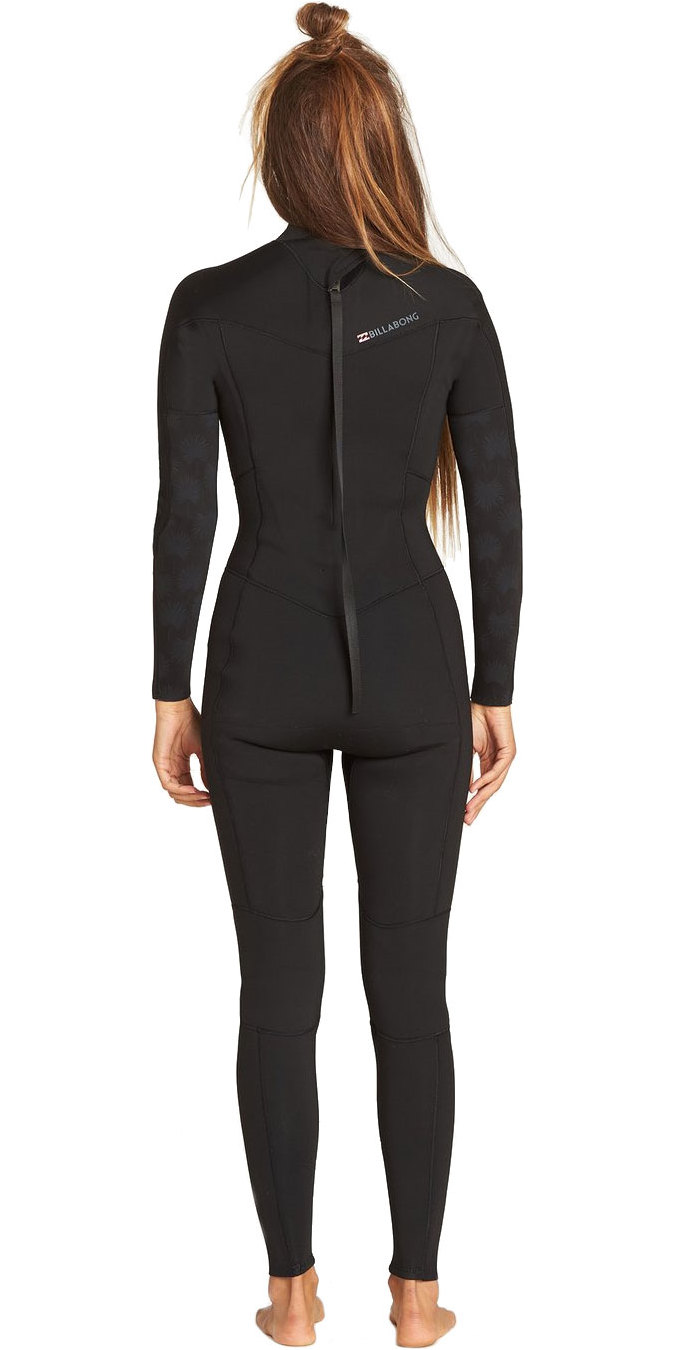 2019 Billabong Womens Furnace Synergy 3/2mm Back Zip GBS Wetsuit Black Palms N43G04